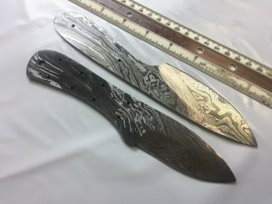 "2 pieces Damascus steel blank blade set 8.5"" and 8"" long hand forged steel"