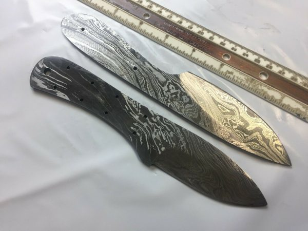 """2 pieces Damascus steel blank blade set 8.5"""" and 8"""" long hand forged steel"""