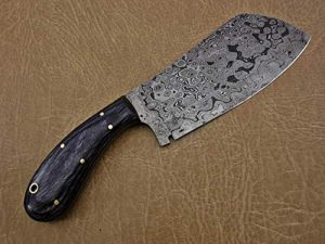 "9.5"" hand forged rain drop pattern Damascus steel Butcher knife, Meat cleaver, 2 tone black wood scale, Rain drop pattern Damascus Steel 3 mm blade"