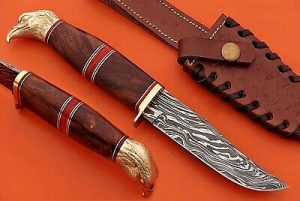 "10"" custom skinning knife with eagle pomel, trailing point blade, Leather sheath"