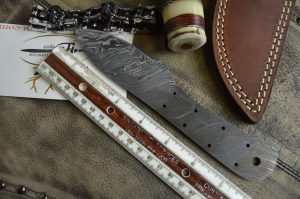 "7.5"" hand forged Damascus steel blank blade 3.25"" cutting edge, 9 scale holes"