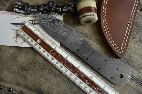 """7.5"""" hand forged Damascus steel blank blade 3.25"""" cutting edge, 9 scale holes"""
