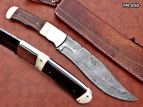 """Damascus Steel Nessmuk Knife, 14"""" Long Custom Made Hand Forged with 8"""" Long Blade, Rose Wood Scale with Camel Bone & Steel Bolster, Exotic Cow Hide Leather Sheath Included"""