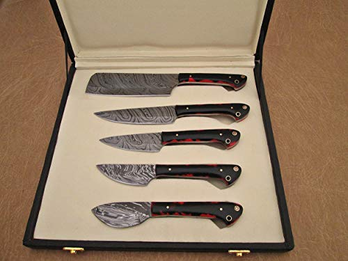 Custom made hand forged Damascus steel full tang blade kitchen knife set, Overall 40 inches Length of Damascus sharp knives (10.6+9.6+9.0+8.0+7.6) Inches, Leather suede sheath (Red & BLK Razon)