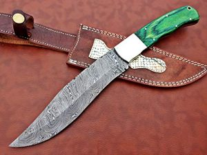 "Damascus Steel Nessmuk Knife, 14"" Long Custom Made Hand Forged with 8"" Long Blade, 2 Tone Green Wood Scale with Steel Bolster, Exotic Cow Hide Leather Sheath Included"
