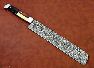 "15"" long Damascus steel Salmon Knife 9"" cutting edge, 6"" long Multi color scale"