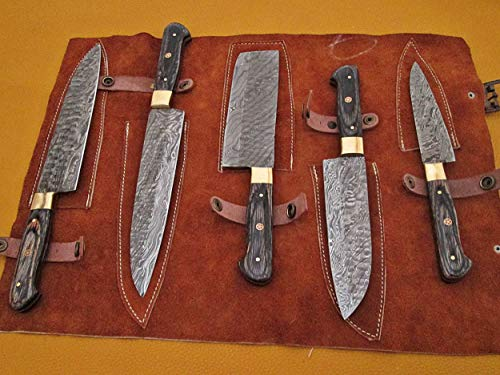 5 Pieces Damascus steel Hammered kitchen knife set, 2 tone black Dollar wood scale, 36 inches steel sharp knives, Custom made hand forged Hammered Damascus steel, Goat suede Roll Leather sheath