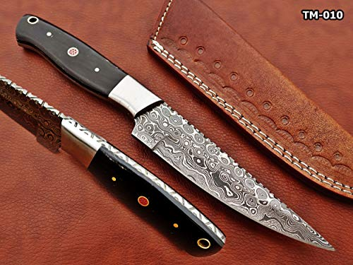 """9.5"""" Long Full Tang Blade Skinning Knife, Rain Drop Pattern Straight Back Hand Forged Damascus Steel, 4 Different Scale with Steel Bolster and Inserting Hole, Includes Cow Leather Sheath"""