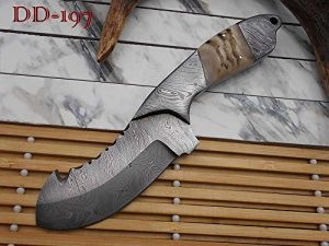 "9"" long Damascus steel Ram horn scale with bolster custom made compact skinning Knife full tang Hand Forged 3.5"" blade cow leather sheath"