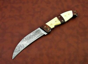 "10"" long Damascus steel Peeler Knife 4.5"" cutting edge, wood and Bone scale"