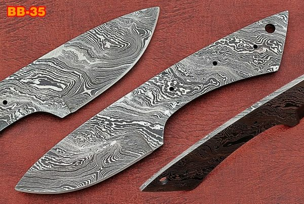 "7.75"" drop point Damascus steel blank blade pocket knife with 3.5"" cutting edge"
