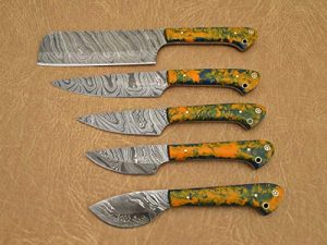 Custom made hand forged Damascus steel full tang blade kitchen knife set, Overall 45 inches Length of Damascus sharp knives (10.6+9.6+9.0+8.0+7.6) Inches, Leather suede sheath (MC Orange))