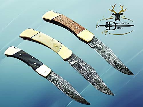 3 Pieces Lever Lock Folding Damascus Steel Knife