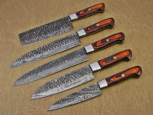 5 Pieces Damascus steel Hammered kitchen knife set, 2 tone Orange wood scale, 54 inches long sharp knives, Custom made hand forged Hammered Damascus steel blade, Goat suede Roll Leather sheath