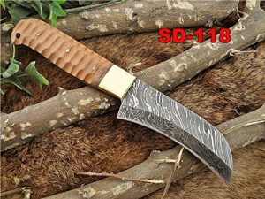 "9 Inches long custom made Damascus steel Peeler kitchen Knife 4"" blade, Jigged wood scale with brass bolster and inserting hole"