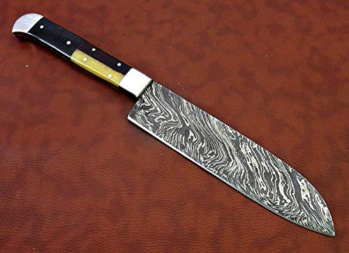 "Damascus Steel Santoku Knife, 13 Inches Long with 7"" Long Hand Forged Blade, Combination of Walnut Wood, Camel Bone and Bull Horn Scale with Steel Bolster"