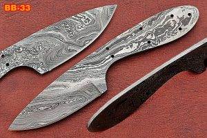 "7.5"" drop point Damascus steel blank blade pocket knife with 3"" cutting edge"