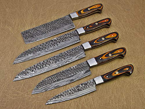 5 Pieces Damascus steel Hammered kitchen knife set, 2 tone Yellow wood scale, 54 inches long sharp knives, Custom made hand forged Hammered Damascus steel blade, Goat suede Roll Leather sheath