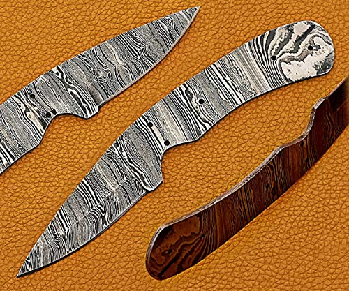 """8 inches Long Hand Forged Ladder Damascus Steel Drop Point Blank Blade Skinning Knife, 4.5"""" Scale Space with 5 pin Hole. 3.25 inches Cutting Edge"""