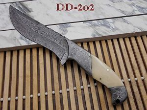 "10.2 Long hand forged Damascus steel skinning Knife,5.2"" full tang blade, Camel bone scale with Damascus bolster, Cow hide Leather sheath"