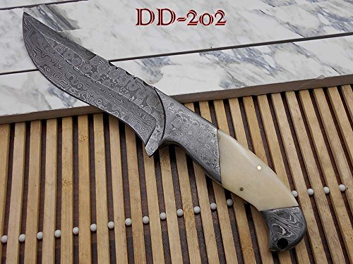 """10.2 Long hand forged Damascus steel skinning Knife,5.2"""" full tang blade, Camel bone scale with Damascus bolster, Cow hide Leather sheath"""
