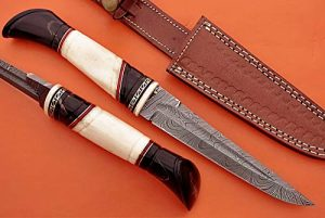 "11.5 Inches Hand Forged Damascus Steel Straight Back Blade Skinning Knife, Hand Carved Bull Horn and Camel Bone Round Scale Crafted with Brass, 6.25"" Blade, Cow Hide Leather Sheath with Belt Loop"