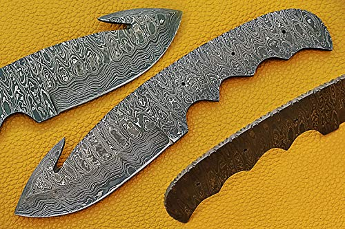 """9 inches Long Hand Forged Trailing Point Gut Hook Skinning Knife Blade, Knife Making Supplies, Damascus Steel Blank Blade Pocket Knife with 3 Pin Hole, 3.75 inches Cutting Edge, 4"""" Scale Space"""