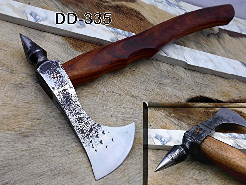 Tomahawk Axe bearded hiking battle axe 15 Inches long Hand Forged steel with Rose wood round handle, thick cow hide leather sheath